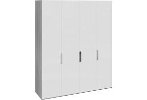 Шкаф комбинированный с 4 глухими дверями «Эста» (Дуб Гамильтон/Белый глянец)