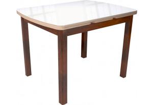 Стол «Орлеан» 1,7 (Орех темный/Дуб сонома, стекло белый глянец)