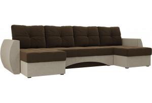 П-образный диван Сатурн Коричневый/Бежевый (Микровельвет)