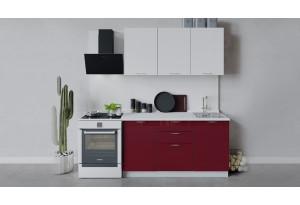 Кухонный гарнитур «Весна» длиной 150 см (Белый/Белый глянец/Бордо глянец)