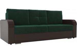 Прямой диван Мейсон зеленый/коричневый (Велюр/Экокожа)