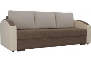 Прямой диван Монако slide Коричневый/Бежевый (Рогожка/Экокожа)