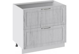 Шкаф напольный с 2-мя ящиками (ПРОВАНС (Белый глянец/Санторини светлый))