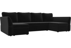 П-образный диван Гесен Черный (Микровельвет)