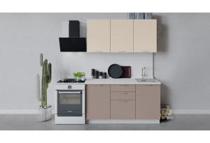 Кухонный гарнитур «Весна» длиной 150 см (Белый/Ваниль глянец/Кофе с молоком)