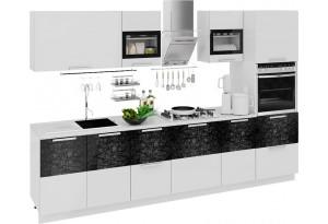 Кухонный гарнитур длиной - 300 см (с пеналом ПБ) Фэнтези (Белый универс)/(Лайнс)