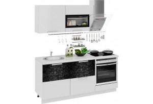 Кухонный гарнитур длиной - 180 см (со шкафом НБ) Фэнтези (Белый универс)/(Лайнс)