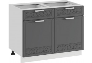 Шкаф напольный с двумя ящиками и двумя дверями «Долорес» (Белый/Титан)