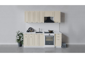 Кухонный гарнитур «Бьянка» длиной 220 см (Белый/Дуб ваниль)
