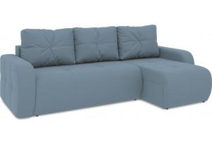 Диван угловой правый «Томас Т1» (Poseidon Ocean (иск.замша) серо-голубой)