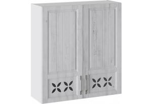 Шкаф навесной c декором (ПРОВАНС (Белый глянец/Санторини светлый))