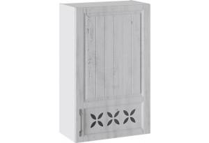 Шкаф навесной c декором (правый) (ПРОВАНС (Белый глянец/Санторини светлый))