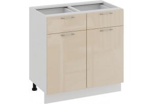 Шкаф напольный с двумя ящиками и двумя дверями «Весна» (Белый/Ваниль глянец)