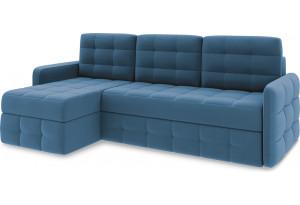 Диван угловой левый «Райс Slim Т1» Beauty 07 (велюр) синий