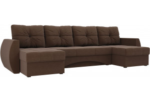 П-образный диван Сатурн Коричневый (Рогожка)