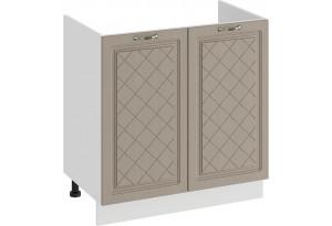 Шкаф напольный с двумя дверями (под накладную мойку) «Бьянка» (Белый/Дуб кофе)