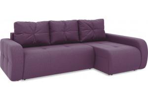 Диван угловой правый «Томас Т2» (Kolibri Violet (велюр) фиолетовый)