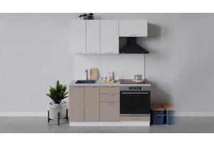 Кухонный гарнитур «Весна» длиной 160 см со шкафом НБ (Белый/Белый глянец/Кофе с молоком)