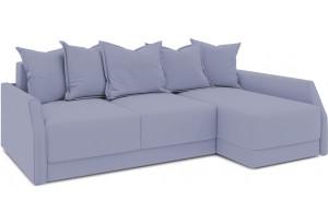 Диван угловой правый «Люксор Slim Т2» (Poseidon Blue Graphite (иск.замша) серо-фиолетовый)