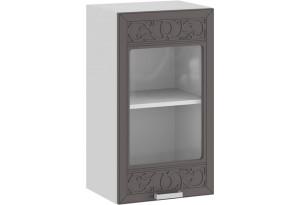 Шкаф навесной c одной дверью со стеклом «Долорес» (Белый/Муссон)
