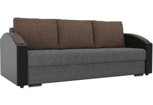 Прямой диван Монако slide Серый/черный (Рогожка/Экокожа)