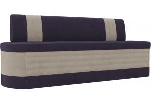 Кухонный прямой диван Токио фиолетовый/бежевый (Велюр)