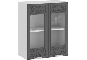 Шкаф навесной c двумя дверями со стеклом «Долорес» (Белый/Титан)
