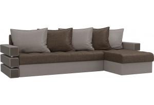 Угловой диван Венеция Коричневый/Бежевый (Рогожка)