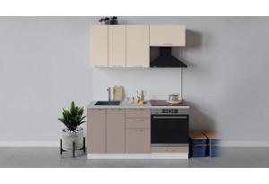 Кухонный гарнитур «Весна» длиной 160 см со шкафом НБ (Белый/Ваниль глянец/Кофе с молоком)