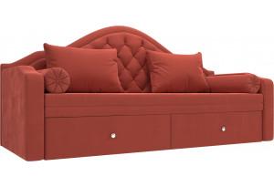Прямой диван софа Сойер Коралловый (Микровельвет)