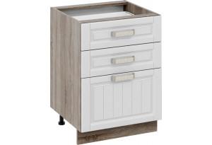 Шкаф напольный с 3-мя ящиками Дуб Сонома трюфель/Крем