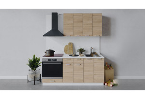 Кухонный гарнитур «Гранита» длиной 180 см со шкафом НБ (Белый/Дуб сонома)