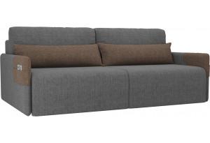 Прямой диван Армада Серый/коричневый (Рогожка)