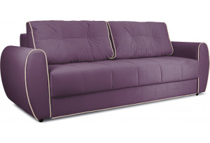 Диван «Оливер» Kolibri Violet (велюр) фиолетовый, кант Kolibri Cream (велюр) кремовый