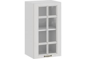 Шкаф навесной c одной дверью со стеклом «Лина» (Белый/Белый)