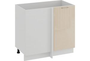 Шкаф напольный угловой «Весна» (Белый/Ваниль глянец)