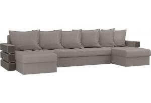 П-образный диван Венеция Бежевый (Рогожка)
