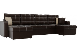 П-образный диван Ливерпуль Коричневый (Экокожа)
