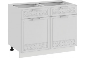 Шкаф напольный с двумя ящиками и двумя дверями «Долорес» (Белый/Сноу)