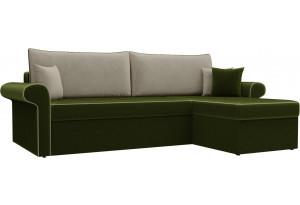 Угловой диван Милфорд Зеленый/Бежевый (Микровельвет)