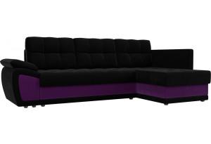 Угловой диван Нэстор прайм черный/фиолетовый (Микровельвет)