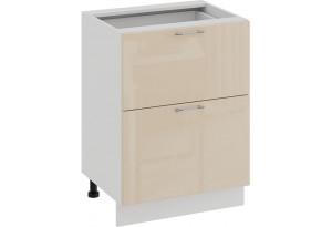 Шкаф напольный с двумя ящиками «Весна» (Белый/Ваниль глянец)