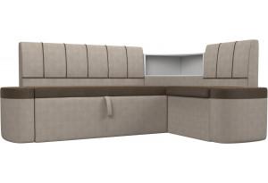 Кухонный угловой диван Тефида Коричневый/Бежевый (Рогожка)
