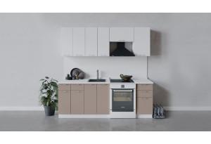 Кухонный гарнитур «Весна» длиной 220 см (Белый/Белый глянец/Кофе с молоком)