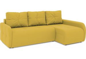 Диван угловой правый «Томас Slim Т2» (Poseidon Curcuma (иск.замша) желтый)