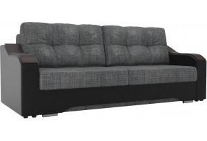 Прямой диван Браун Серый/черный (Рогожка/Экокожа)