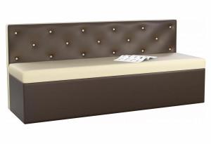 Кухонный прямой диван Салвадор бежевый/коричневый (Экокожа)