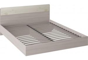 Двуспальная кровать «Мишель» (Ясень шимо/Сатин матовый с рисунком)