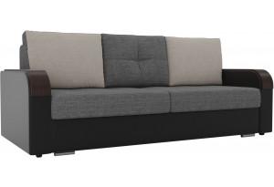 Прямой диван Мейсон Серый/черный (Рогожка/Экокожа)