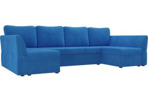 П-образный диван Гесен Голубой (Велюр)